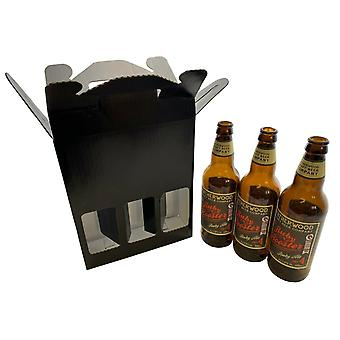 215mm x 70mm x  260mm | Black 3 x Beer Ale Cider Bottle Presentation Gift Box | 50 Pack