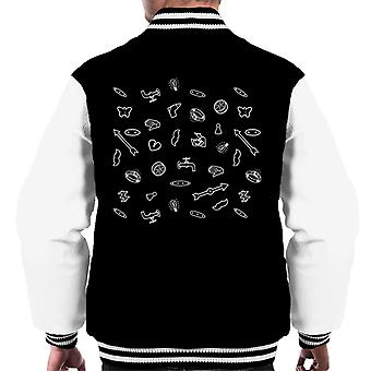 Mixed Board Games Monopoly Pieces Black And White Men's Varsity Jacket
