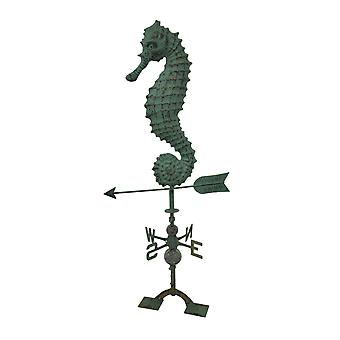 Beautiful Verdigris Finish Seahorse Weathervane With Roof Mount