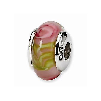 925 Sterling Silber poliert Finish Reflexionen Kinder rosa Murano Glas perle Charme Anhänger Halskette Schmuck Geschenke für Wom