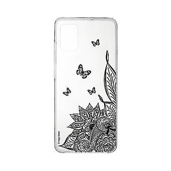 Runko Samsung Galaxy A71 pehmeä mandala kukka ja musta perhonen