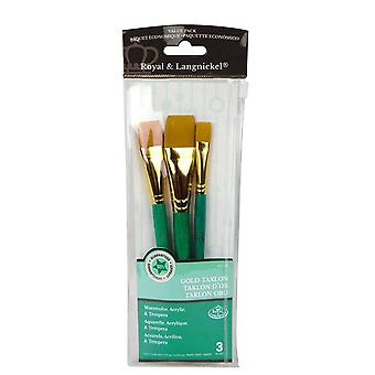 Royal & Langnickel Gold Taklon Glaze Wash Paint Brush Set van 3