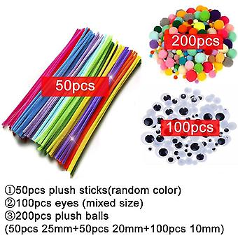 Colorful Plush-sticks Wool Pompoms Materials, Kids Diy Montessori Craft Pipe,