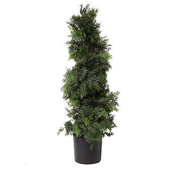 100cm Artificial Cedar Spiral Topiary Tree Bushy Style UV Protected