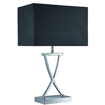 Searchlight Club - 1 lys bordlampe sateng sølv med svart skygge, E14