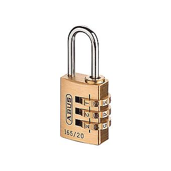 ABUS 165/20 20mm Solid Brass Body Combination Padlock (3-Digit) Carded ABU16520C