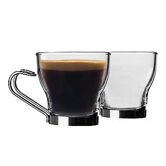 Bormioli Rocco 6 Piece Oslo Glass Espresso Cups Set - Små hærdet kaffekrus - Rustfrit stål Håndtag - 100ml