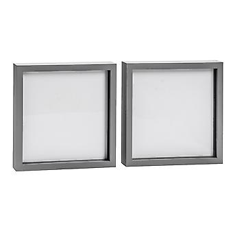 Nicola Spring Photo Frame - Acrylic Box Frame (Glass Cover) - 20x20in - Grey - Pack of 2