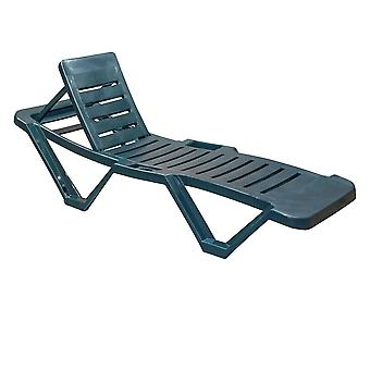 Resol Master Garden Sun Lounger Bed - Adjustable Reclining Outdoor Summer Furniture - Green