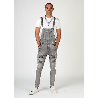 Failsworth mens super skinny bib overalls - faded grey