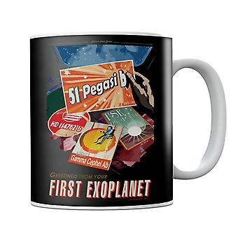 NASA 51 Pegasi b Exoplaneta Interplanetaria Viaje Cartel Taza