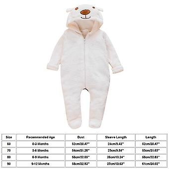 Cartoon Bear Flannel Footed Romper New Born Baby Clothes Boy Winter Thick Bed Crib Jumpsuit Toddler Pajamas Rompers