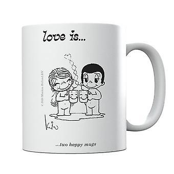 Rakkaus on kaksi onnellista mukia muki