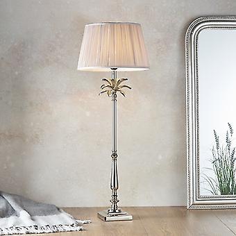 Tafellamp gepolijste nikkelplaat en schemerige roze zijde 1 Licht IP20 - E27