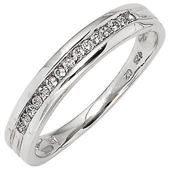 लेडीज रिंग 585 गोल्ड व्हाइट गोल्ड 15 डायमंड डायमंड्स 0.15ct। सोने की अंगूठी