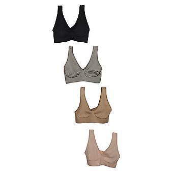 Rhonda Shear One Pink/Beige/Black Bra Set Wire Free Nylon 703-032