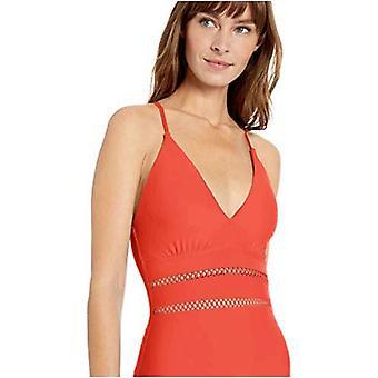 Athena Women's Plunge One Piece Swimsuit, Diamond Head Solids red, 6