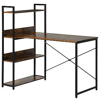 HOMCOM Retro Industrial Computer Desk Home Office Table with 4-Tier Storage Shelf Metal Frame Computer Workstation for Home Office, Brown