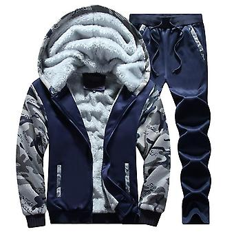 Men's Plus Size Thick Warm Hooded Jacket Plus Fleece To Keep Warm Men's Camouflage Sweater And Pants 2 Packs