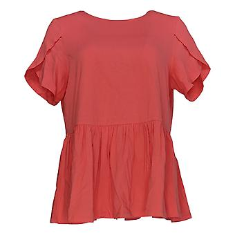 DG2 por Diane Gilman Women's Top Coral Red Tunic Short Sleeve Cotton 686-556