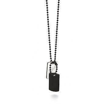 Fred Bennett Stainless Steel & Black Ip Dog Tag Necklace