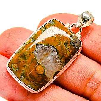 "Rainforest Opal 925 Sterling Silver Pendant 1 3/4""  - Handmade Boho Vintage Jewelry PD741675"