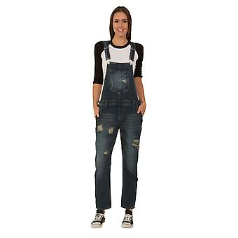 Women's distressed denim dungarees - size 8 only - indigo