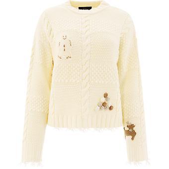 Alanui Lwhe023r21kni0010285 Women's White Wool Sweater