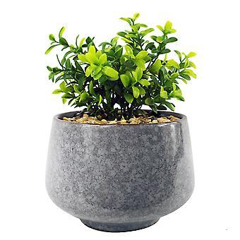 Plantador Azul Alto Cerámico de 17cm con Planta Artificial Crassula