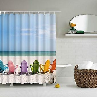 Waterproof, Polyester Fabric-3d Printed Shower Curtains