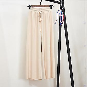 Femme Summer Wide Leg Loose Ankle Length Pants Casual Pantalon