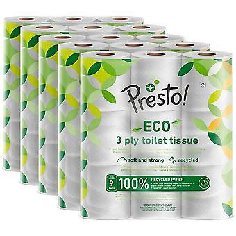 Amazon Brand - Presto! 3-Ply ECO Toilet Tissues, 45 Rolls (5 x 9 x 200 sheets)