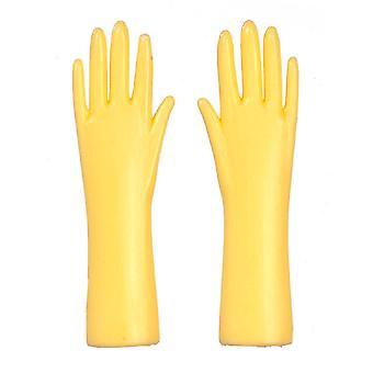 Dolls House Żółte gumowe rękawiczki 1:12 Skala Akcesoria kuchenne