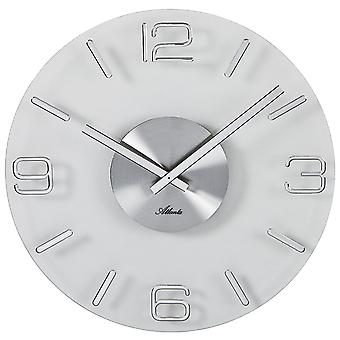 أتلانتا 4514/19 الجدار ساعة كوارتز التناظرية الزجاج جولة الفضة