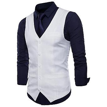 Casual Cotton Linen Mens Suit, Vest Slim Fit, Single Breasted Sleeveless