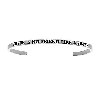 """Intuitions Stainless Steel THERE IS NO FRIEND LIKE A SISTER Diamond Accent Cuff  Bangle Bracelet, 7"""""""