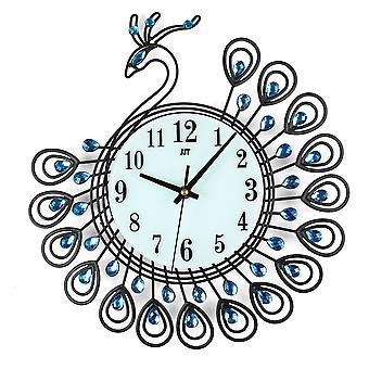 Grande fai-da-3d fiore pavone diamante parete orologio metallo moderne decorazioni per l'ufficio domestico