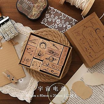 Jenny Chinese Character Number Universe Flower Week Wooden Rubber Stamp