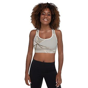 Silver Gold Padded Geometry Sports Bra