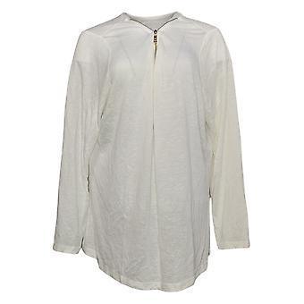 Belle by Kim Gravel Women's Plus Top Sweater Knit met Rits Wit A355036