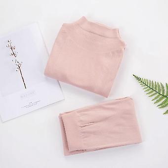Solid Color Slim Thermal Underwear Set Winter Turtleneck Cotton Long Clothing