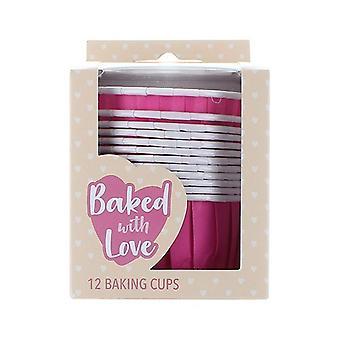 12 hot pink pieczenia kubki - 50mm - pojedyncze opakowanie