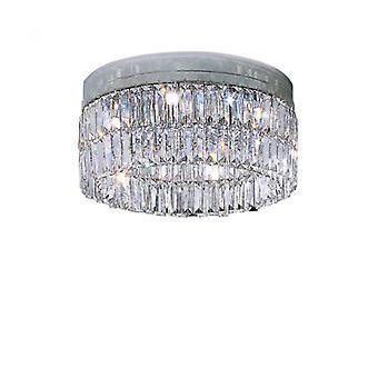 Lámpara De Techo De Diseño Cristal Prisma Cromo 6 Bombillas