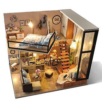 Diy House Doll Miniature Dollhouse Furniture Kit With Led