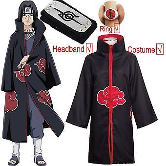 Naruto Cosplay Costume Akatsuki Cloak Uchiha Itachi Sharingan Headband