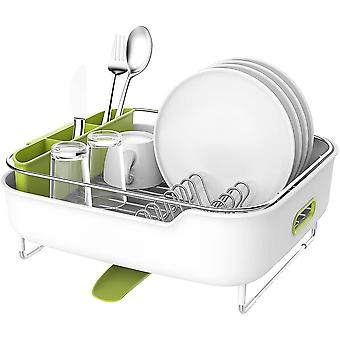 zova Premium Stainless Steel Dish Drying Rack with Swivel Spout, Dish Drainer Utensil Organizer