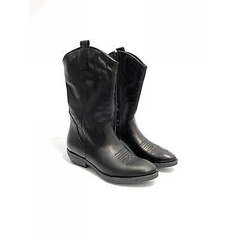 Women's Shoes Elite Texan Boot Embroidered In Black Calfskin D21el08