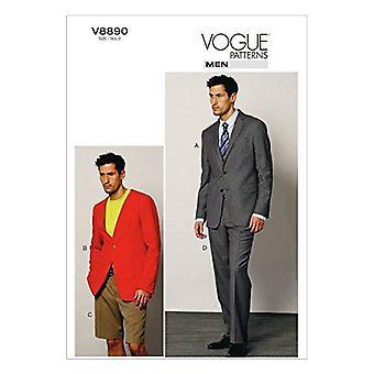 Vogue patrón de costura 8890 chaqueta masculina pantalones cortos tamaño 34-40