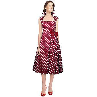 Chic Star Polka-Dot Belted Pleat Dress En Rojo / Puntos