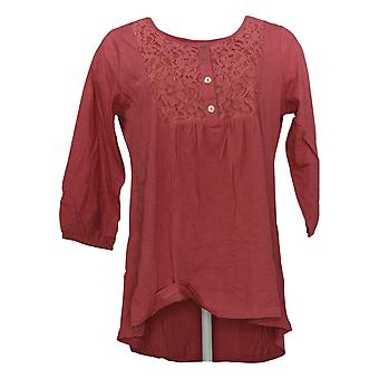 LOGOTIPO por Lori Goldstein Women's Top Knit Button Front c/ Lace Pink A264603
